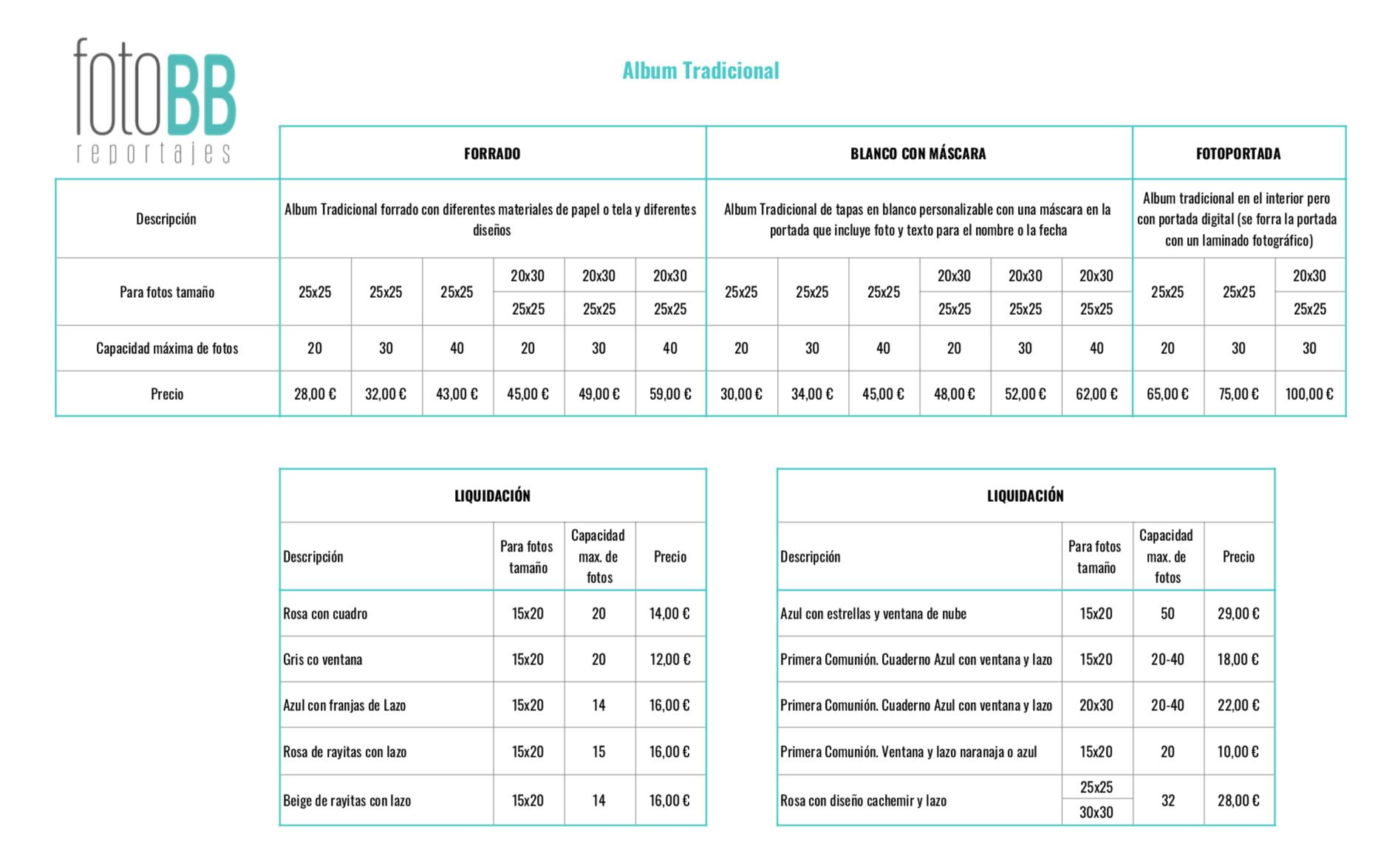 Tabla comparativa precios
